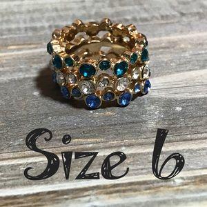 💍 3 rings bundle Lot size 6 fashion rhinestone